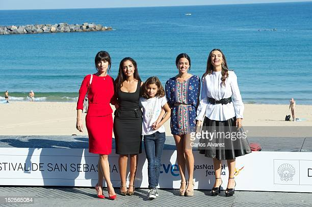 Spanish actresses Maribel Verdu Inma Cuesta Sofia Oria Macarena Garcia and Angela Molina 'Blancanieves' photocall at the Kursaal Palace during the...