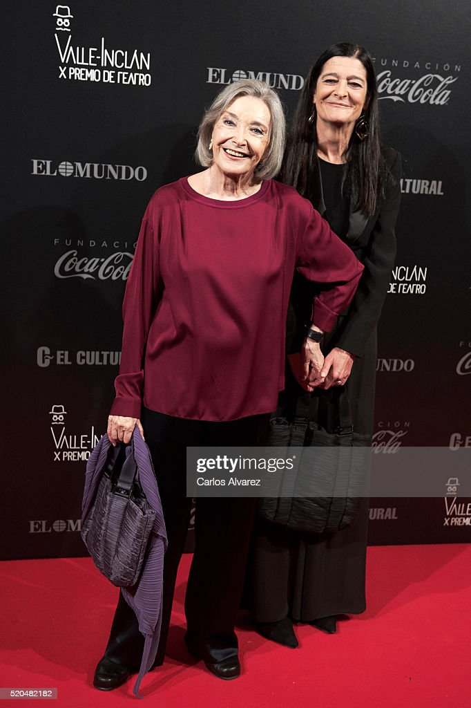 Spanish actresses Nuria Espert (L) and Alicia Moreno (R) attend the 10th Valle-Inclan Theatre awards at the Royal Theatre on April 11, 2016 in Madrid, Spain.