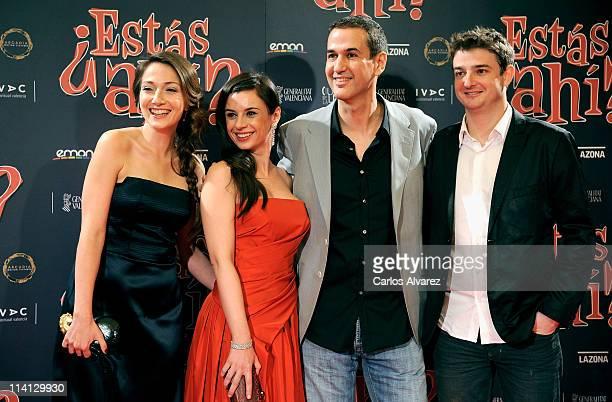 Spanish actresses Olaya Martin Miren Ibarguren director Roberto Santiago and actor Gorka Otxoa attend Estas Ahi premiere at Palafox cinema on May 12...