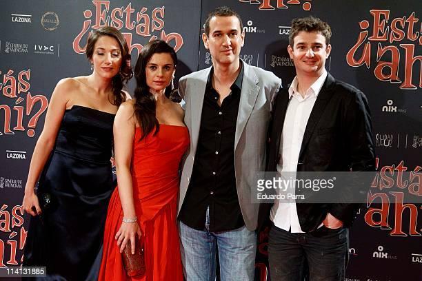 Spanish actresses Olaya Martin Miren Ibarguren director Roberto Santiago and actor Gorka Otxoa attend Â¿Estas Ahi premiere at Palafox cinema on May...