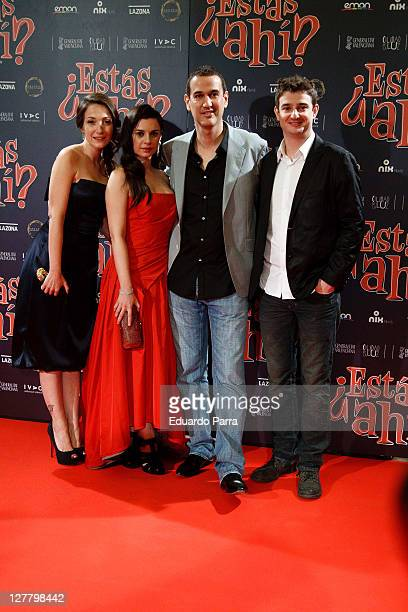 Spanish actresses Olaya Martin Miren Ibarguren director Roberto Santiago and actor Gorka Otxoa attend ¿Estas Ahi premiere at Palafox cinema on May 12...