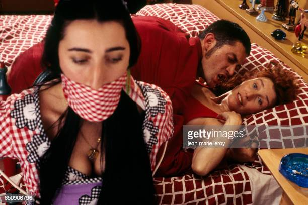 Spanish actresses Rossy de Palma and Veronica Forque on the set of Kika by Spanish director screenwriter producer and actor Pedro Almodovar |...