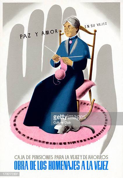 Spanish advert for pension savings scheme Encouraging people to work for the benefits of old age Caption 'Paz y amor en su vejez' Early 20th century