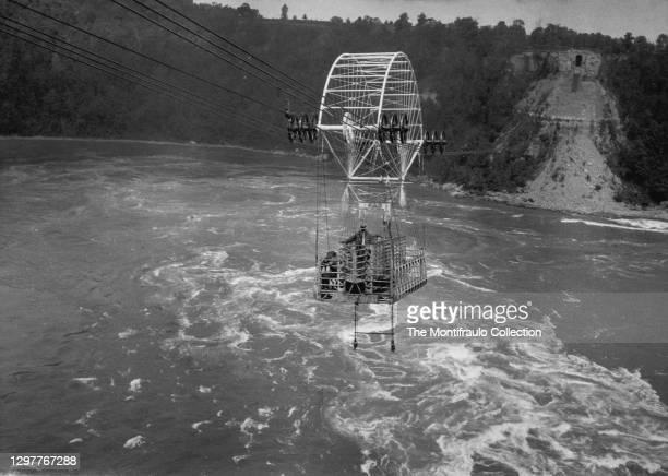 Spanish Aero Car crossing the Niagara Falls whirlpool gorge. The Spanish Aero Car was built in Bilboa, Spain designed by Spanish engineer Leonardo...