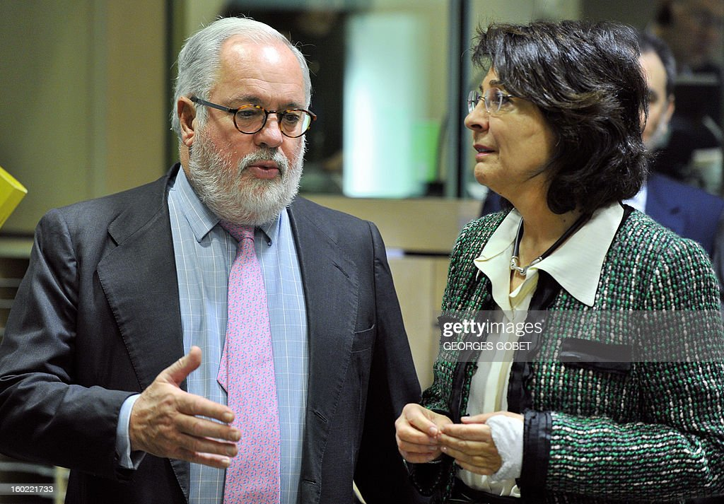 Spanish Agriculture and Environment Minister Miguel Arias Canete (L) speaks with EU commissioner for Maritims Affairs and Fisheries Maria Damanaki at the beginning of an European Union's Agriculture ministers meeting, on January 28, 2013 at the EU Headquarters in Brussels. The Council will hold an exchange of views on the Irish presidency's work programme for the reform of the Common Fisheries Policy (CFP) and on the key issues requiring further discussion in this context, following the general approaches reached last year by the Council on the CFP reform proposals.
