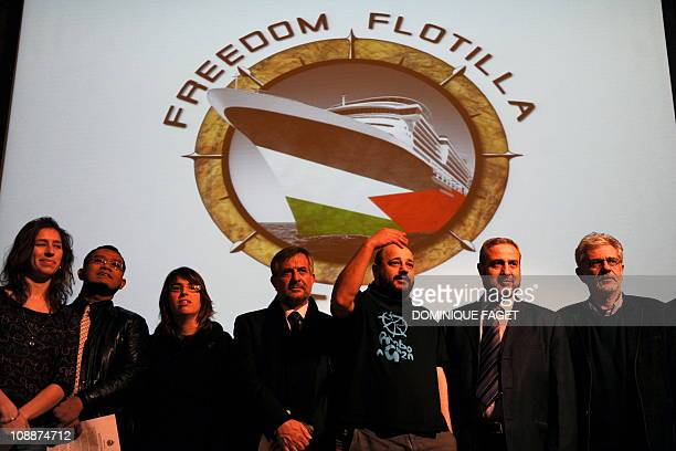 Spanish aid worker and activist of the new Gaza flotilla called 'Freedom Flotilla Two' Manuel Tapial gestures prior to giving press conference on...