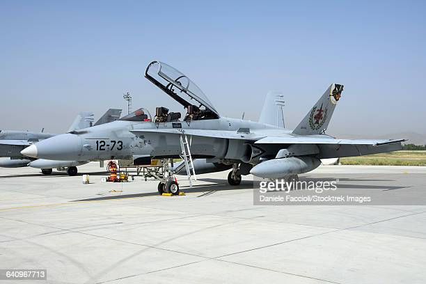 a spanish air force ef-18m hornet at exercise anatolian eagle. - asian hornet stock pictures, royalty-free photos & images