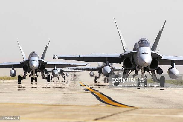 spanish air force ef-18m hornets taxiing on the runway. - asian hornet stock pictures, royalty-free photos & images