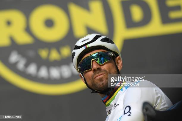 Spanish Alejandro Valverde of Movistar Team waits for the start of the 103rd edition of the 'Ronde van Vlaanderen - Tour des Flandres - Tour of...