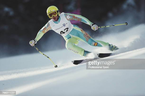 Spanish alpine skier Maria Jose Rienda pictured competing for the Spain team to finish in 29th place in the Women's super-G skiing event held at...