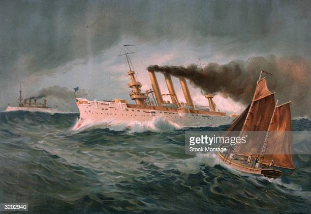 Spanish American War 1898 Color illustration published in 1899 of US Navy armored cruiser 'Brooklyn' Commodore Schley's flagship of the 'Flying...