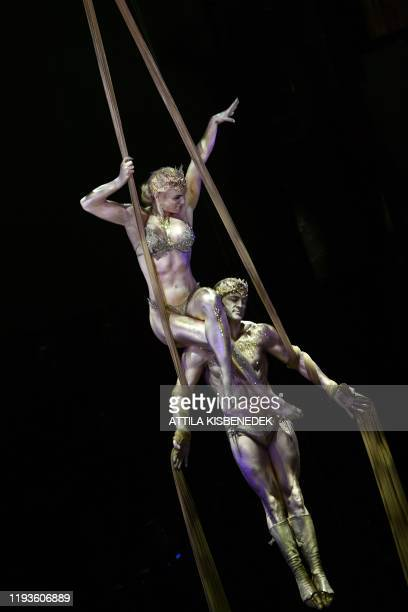 Spanish and Italian acrobats duo Yves Ambra winner of the silver prize perform during the final day of 13th International Circus Festival on the...