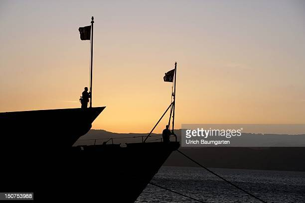 JORDAN AQABA Spanish and Italian frigate of UNIFIL in the port of Aqaba In the backgound the coast of Eilat