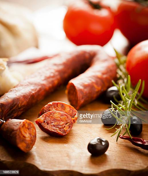 spanish appetizer - chorizo stock pictures, royalty-free photos & images