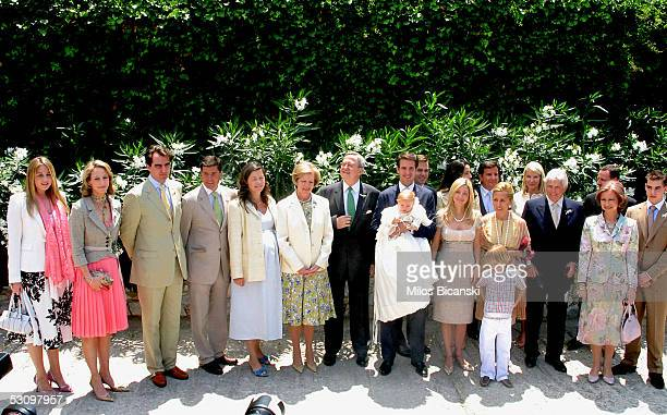 Spanish architect Carlos Morales with his wife Princess Alexia, former Queen of Greece Anne-Marie, her husband former King Constantine, Crown Prince...