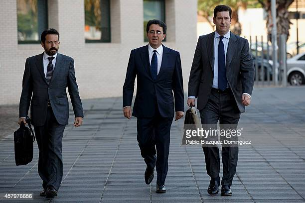 Spanish architect Santiago Calatrava arrives to Castellon dela Plana Court to give evidence as a suspect over alleged unregulated payments on October...