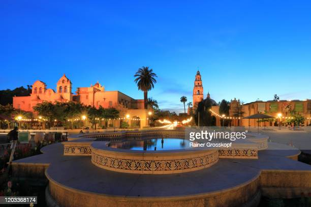 spanish architecture style buildings at dusk - rainer grosskopf stock pictures, royalty-free photos & images