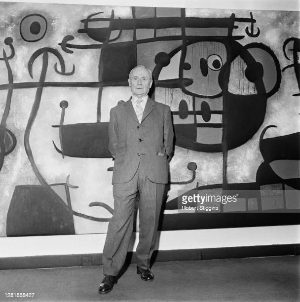 Spanish artist Joan Miro at Marlborough Fine Art Galleries in London for his one-man exhibition, UK, 24th May 1966.