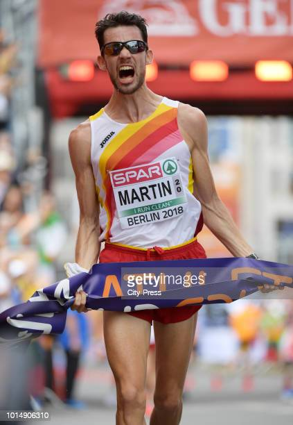 Spanish athlete Alvaro Martin celebrates after the Men's and Women's 20km Race Walk during day five of the 24th European Athletics Championships on...