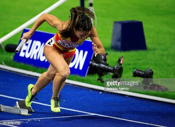 Spanish athlete Cristina Lara competes in women's 4x100m relay final during the 2018 European Athletics Championships in Berlin Germany on August 12...