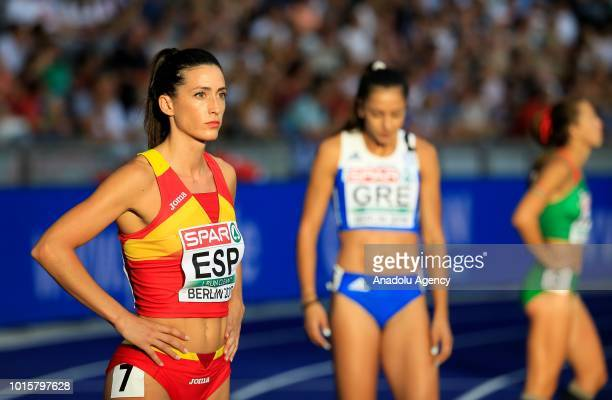 Spanish athlete Estele Garcia prepares to compete in women's 4x100m relay final during the 2018 European Athletics Championships in Berlin Germany on...