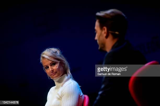 Spanish athlete Lydia Valentin and Spanish karateka Damian Quintero attend the International Sport Forum on September 23, 2021 in Leon, Spain.