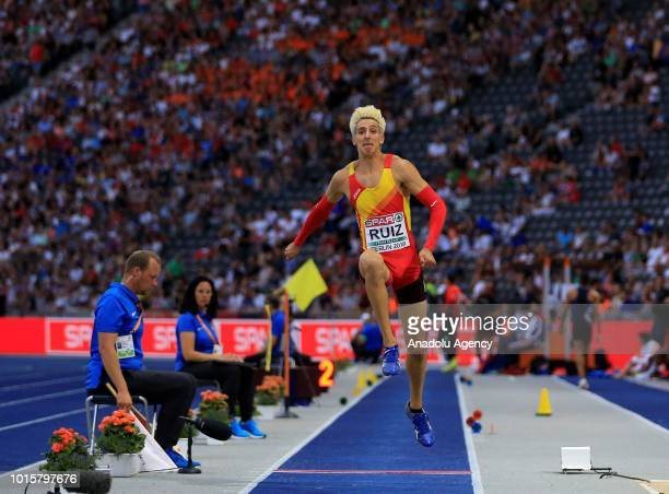 Spanish athlete Marcos Ruiz competes in triple jump final during the 2018 European Athletics Championships in Berlin Germany on August 12 2018