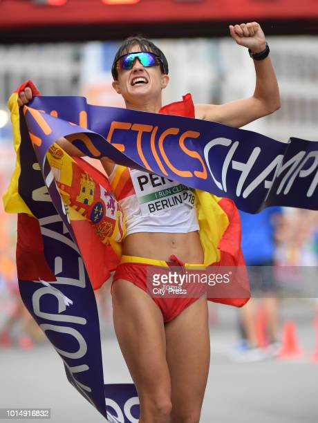 Spanish athlete Maria Perez celebrates after the Men's and Women's 20km Race Walk during day five of the 24th European Athletics Championships on...