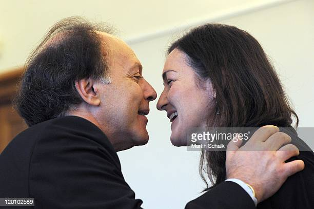 Spanish author Javier Marias and Spanish culture secretary Angeles GonzalezSinde attend the Austrian state award for European literature during the...