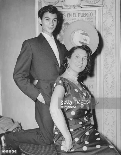 Spanish ballet dancer and choreographer Pilar Lopez Julvez with 15yearold Eduardo Serrano the youngest member of the Ballet Español company during a...