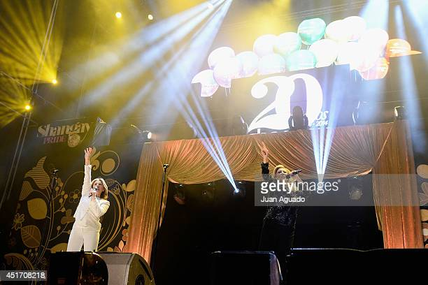 Spanish band Baccara performs on stage during the Shangay Pride concert at the Vicente Calderon stadium on July 4 2014 in Madrid Spain