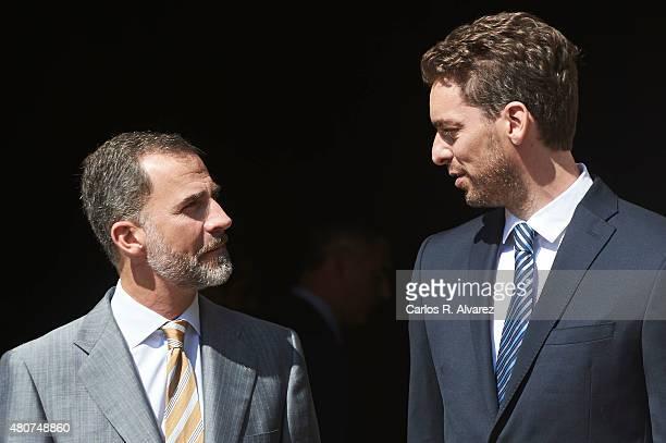 Spanish basketball player Pau Gasol receives the Camino Real award from King Felipe VI of Spain at the Alcala de Henares University on July 15 2015...