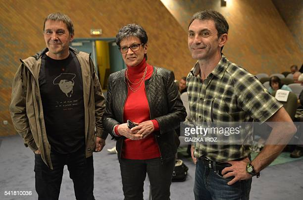 Spanish Basque separatist Arnaldo Otegi PyreneesAtlantique PS Member of Parlement Sylviane Alaux and Xabi Larralde spokeperson of Basque separatist...