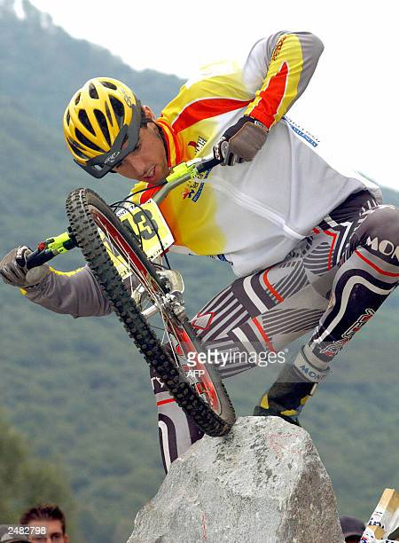 Spanish Benito Ros Charral performs during final Trials at the Mountainbike World Championships 2003 in Lugano. AFP PHOTO/Ti-Press/ Samuel Golay 2003