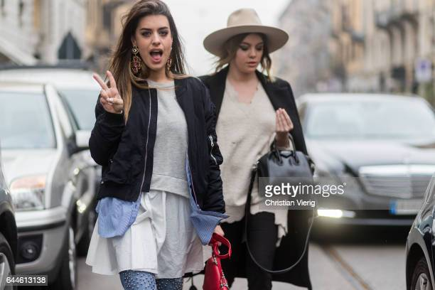 Spanish blogger Aida Domenech outside Emilio Pucci during Milan Fashion Week Fall/Winter 2017/18 on February 23 2017 in Milan Italy