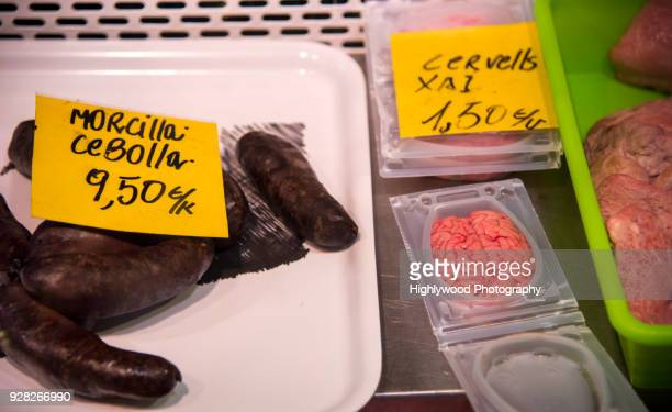 Spanish Blood Sausage and Brain for Sale in a Catalonian Market in Barcelona