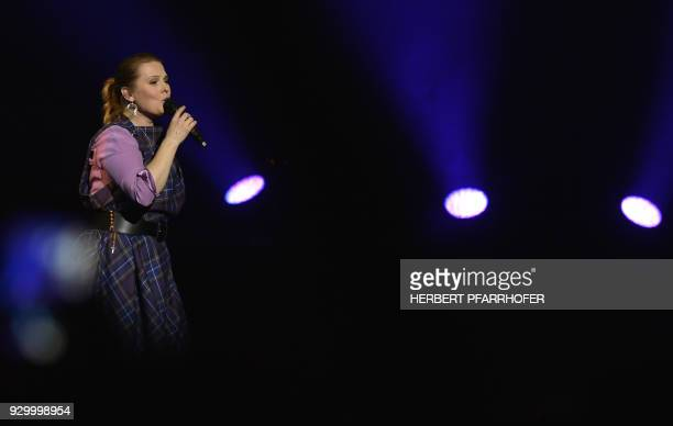 Spanish born singer and songwriter Maria Patricia Kelly performs on stage during a concert of the The Kelly Family band on March 9 2018 in Vienna /...