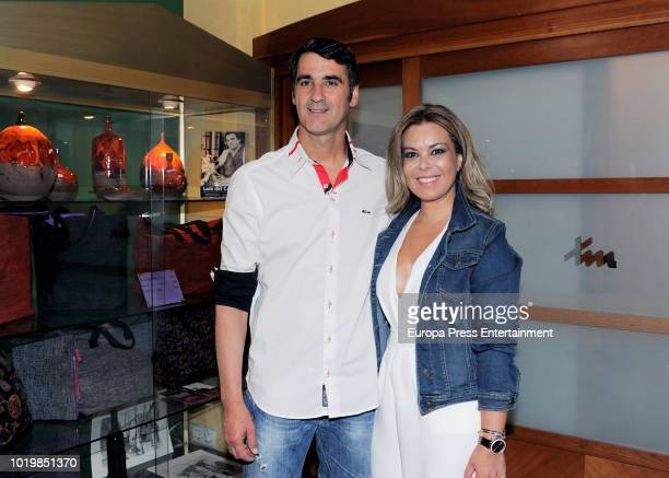 Spanish bullfightehr Jesulin of Ubrique poses with Maria Jose Campanario as he returns to bullfighting after seven years of retirement on August 19...