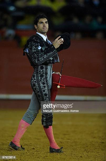 Spanish bullfighter Cayetano Rivera greets the public during a bullfight at the Plaza Valencia bullring on March 21 2010 in Valencia Spain