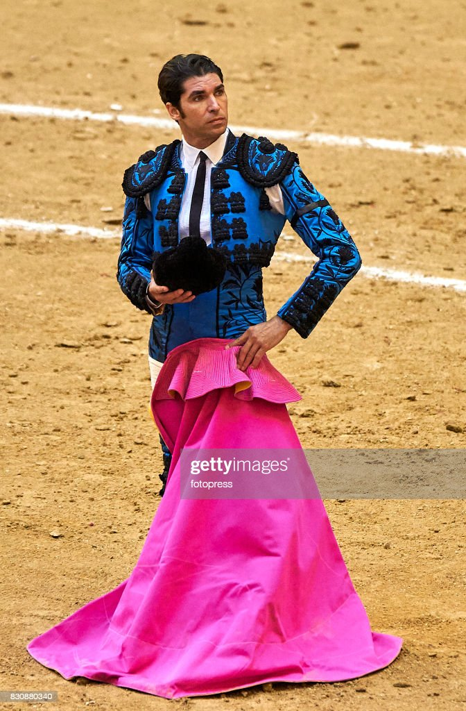 Spanish bullfighter Cayetano Rivera Ordonez looks on during the bullfighting as part of the La Peregrina Festival at Plaza de Pontevedra bullring on August 12, 2017 in Pontevedra, Spain.