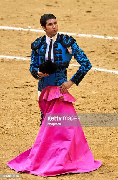 Spanish bullfighter Cayetano Rivera Ordonez looks on during the bullfighting as part of the La Peregrina Festival at Plaza de Pontevedra bullring on...