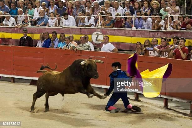 Spanish bullfighter Cayetano Rivera performs at the Palma de Mallorca Bullring on August 3 2017 in Palma de Mallorca Spain