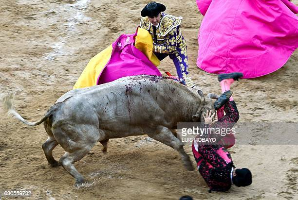 Spanish bullfighter David Fandila El Fandi helps Colombia's banderillero Gustavo Garcia after he was hit by a bull during a bullfight at the...
