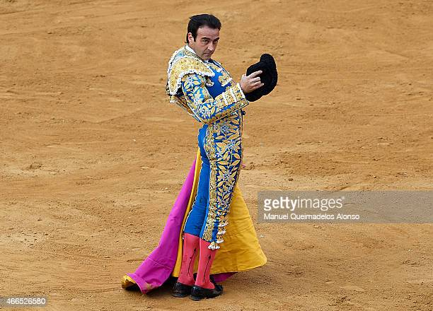 Spanish bullfighter Enrique Ponce performs during a bullfighting as part of the Las Fallas Festival in a bullfight on March 16 2015 in Valencia Spain