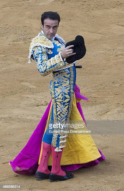 Spanish bullfighter Enrique Ponce performs during a bullfighting to pay homage to his 25 years at bullfighting at Las Fallas Festival on March 16...