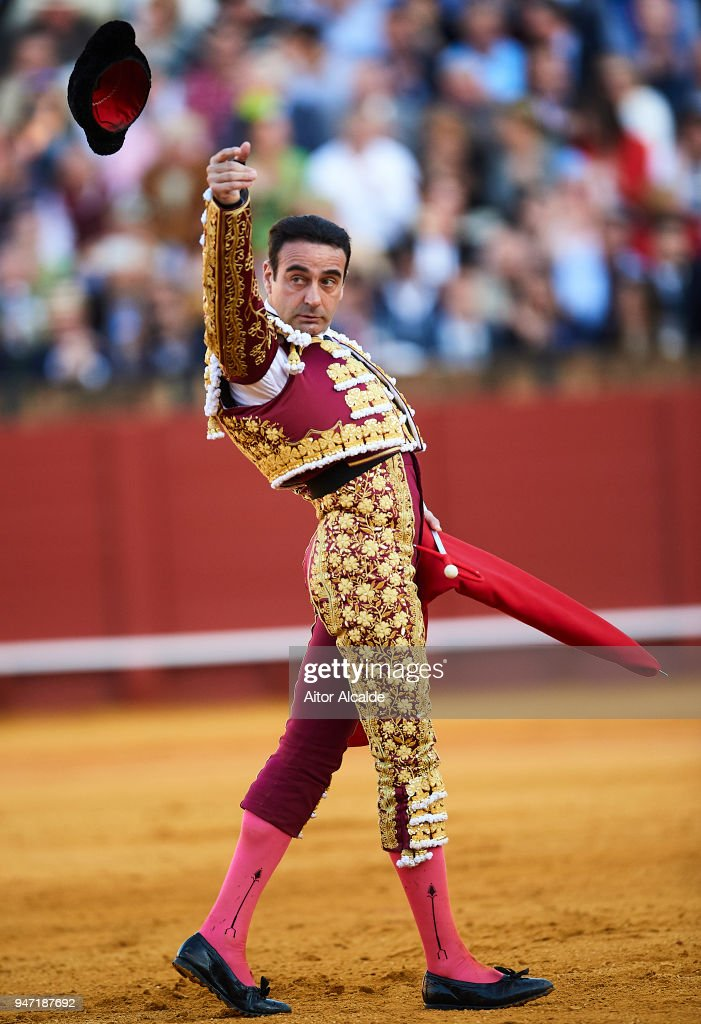 Spanish Bullfighter Enrique Ponce performs during the Feria de Abril Bullfight at La Maestranza on April 16, 2018 in Seville, Spain.