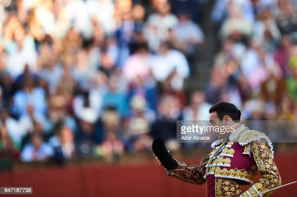 Spanish Bullfighter Enrique Ponce performs during the Feria de Abril Bullfight at La Maestranza on April 16 2018 in Seville Spain
