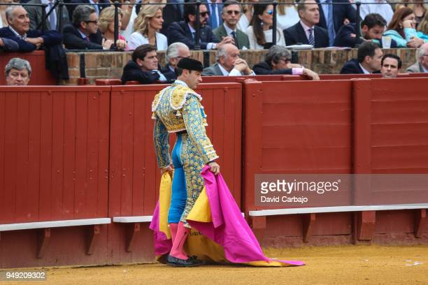 Spanish Bullfighter Enrique Ponce performs during the Feria De Abril bullfight on April 20 2018 in Seville Spain