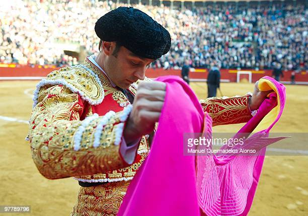 Spanish bullfighter Enrique Ponce prepares before a bullfight at the Plaza Valencia bullring on March 16 2010 in Valencia Spain