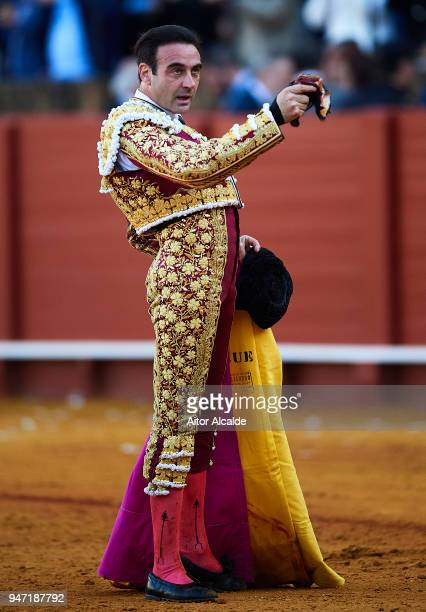 Spanish Bullfighter Enrique Ponce waves to the spectator after cut one ear during the Feria de Abril Bullfight at La Maestranza on April 16 2018 in...